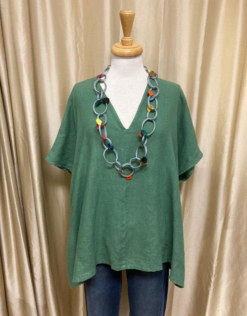 Bryn Walker Baxter Bamboo Cotton V-Neck Short Sleeve Tunic