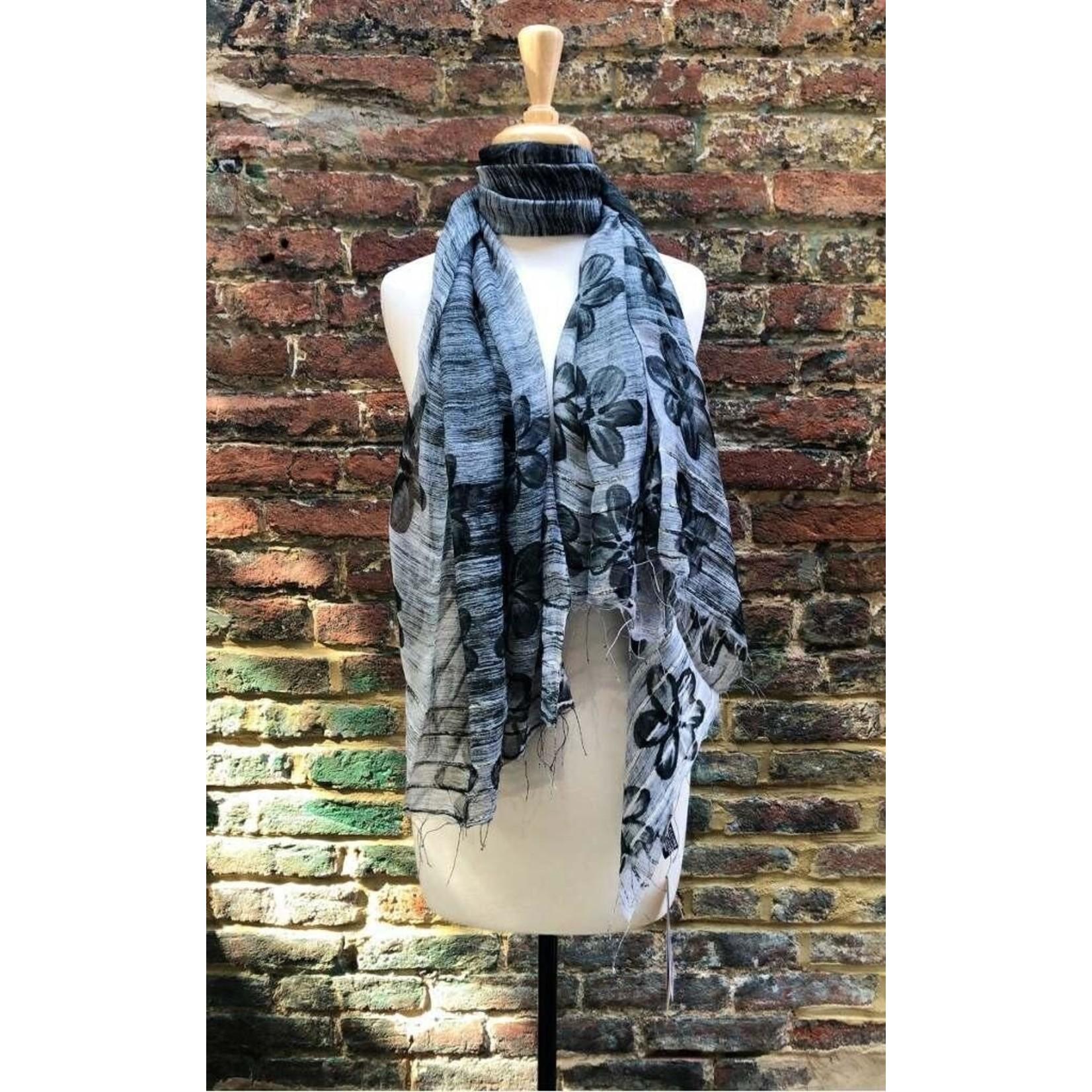 Black Floral & Solid Silk Blend Oversized Scarf Assortment