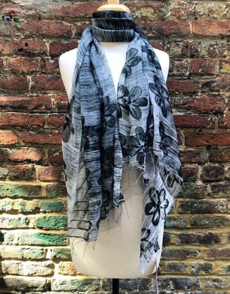 Black Floral & Solid Silk Blend Oversized Scarf Assortment