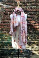 Dolma Sheer Beige Scarf w/ Etched Designs and Orange Circles