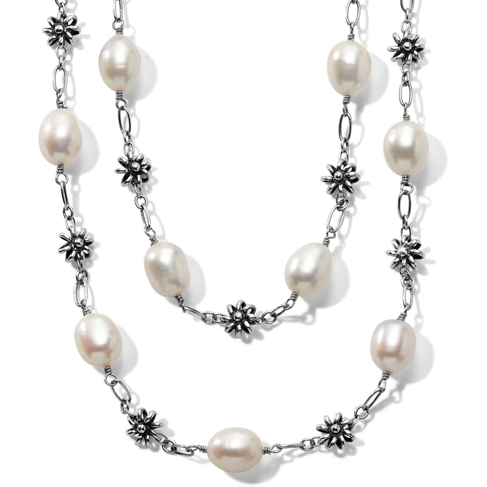 Brighton Rajasthan Jasmin Short Necklace Silver-Pearl