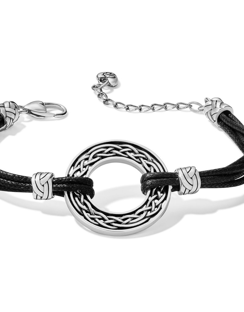 Brighton Interlok Weave Cord Bracelet Silver-Black
