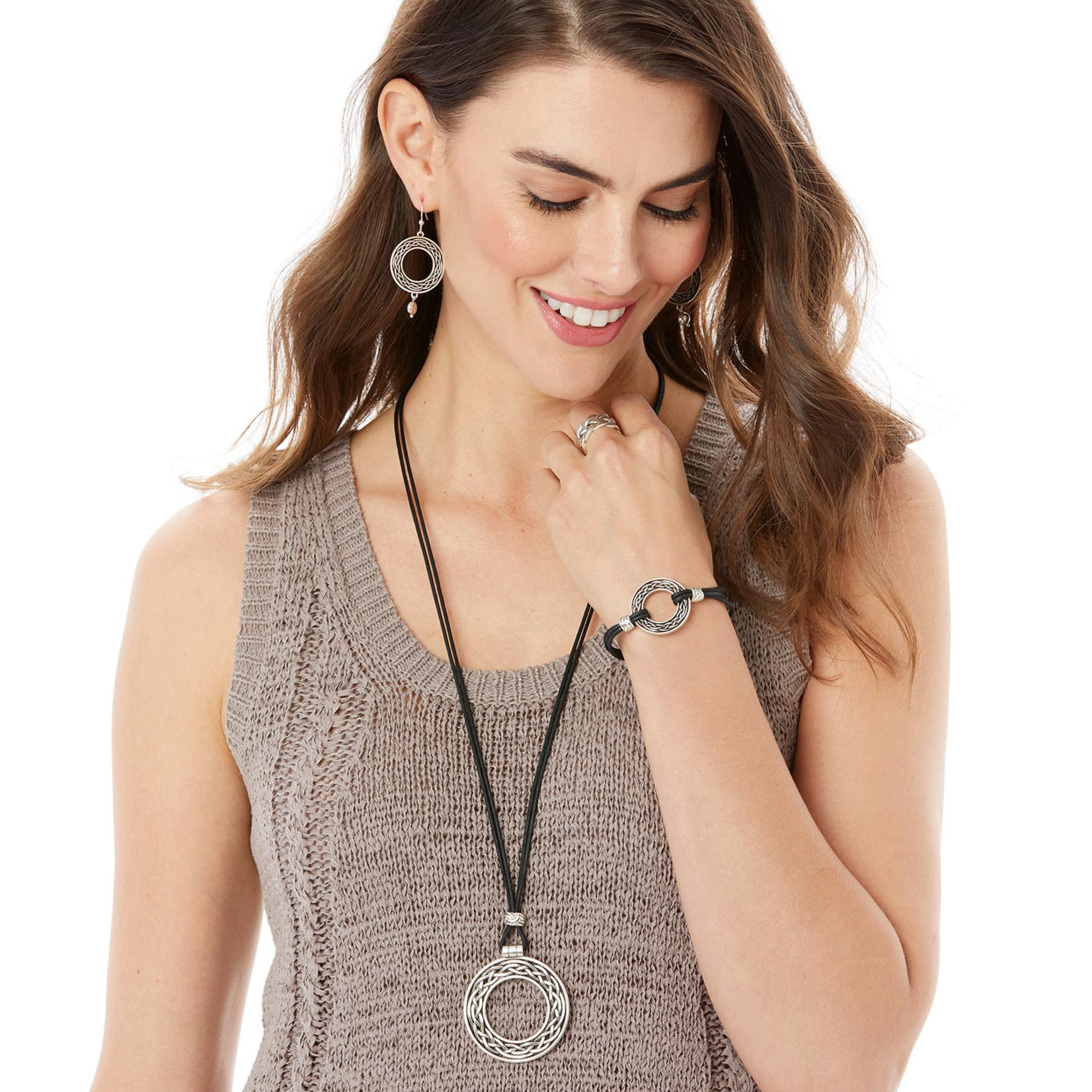 Brighton Interlok Weave Cord Bracelet Silver-Black