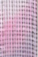 Gingham Silk Blend Oversized Scarf Criss Cross Pattern Gradient Pinks