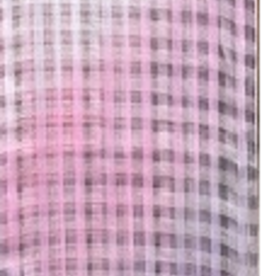 Gingham Silk Blend Oversized Scarf Criss Cross Pattern Gradient Pinks