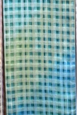 Gingham Silk Blend Oversized Scarf Criss Cross Pattern Gradient Blues