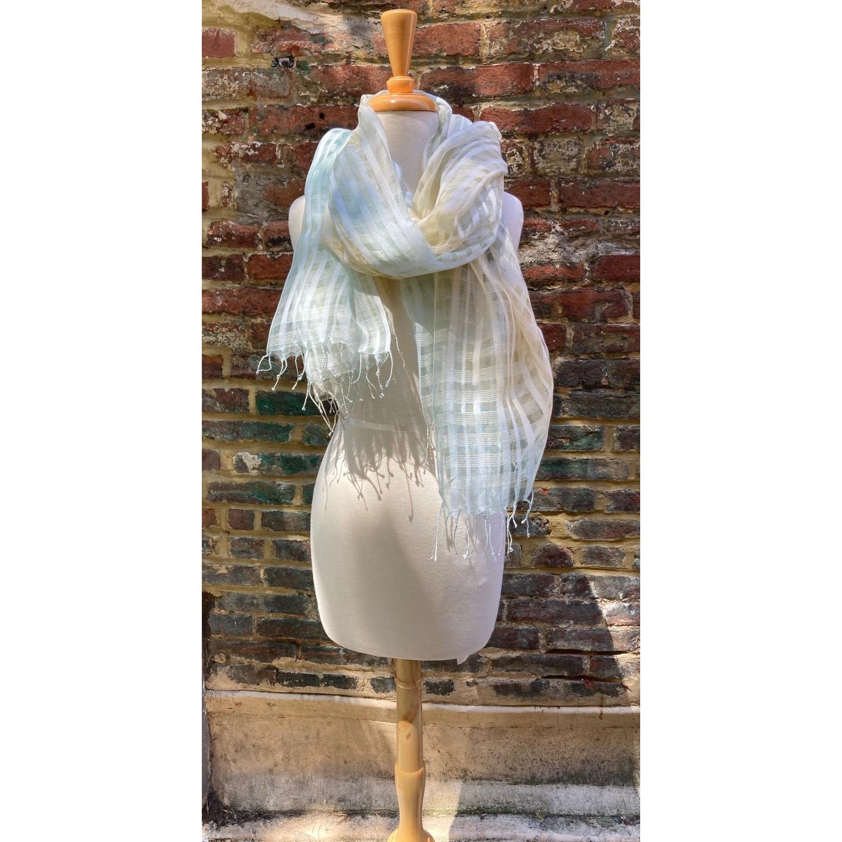 Gingham Silk Blend Oversized Scarf Criss Cross Pattern Gradient Yellow/Mint Grn