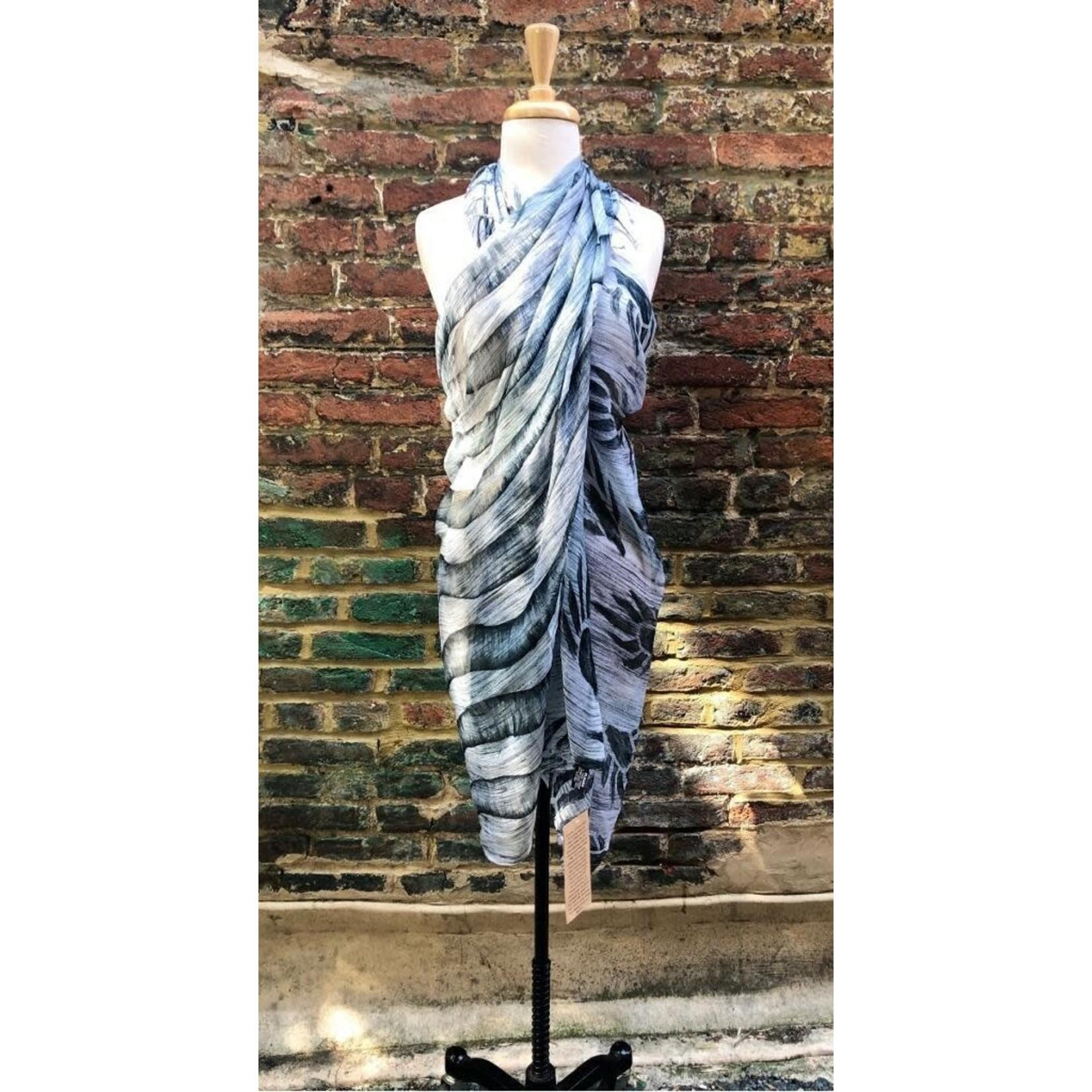 Handbrushed/Handpainted Silk Scarf w/ Abstract Starburst Asstd Colors