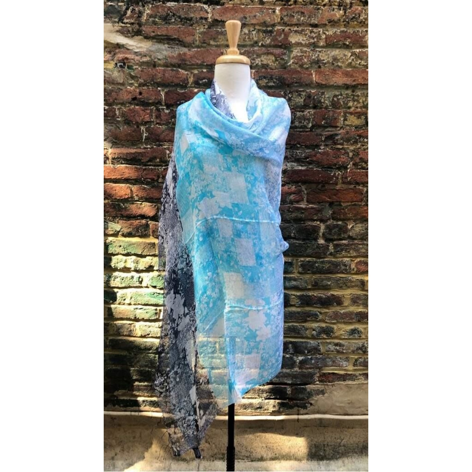 100% Silk Turq and DkGrayScarf w/ White Floral Faded  Print
