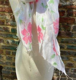 100% Silk Sheer White Scarf Pink Watercolor Flowers