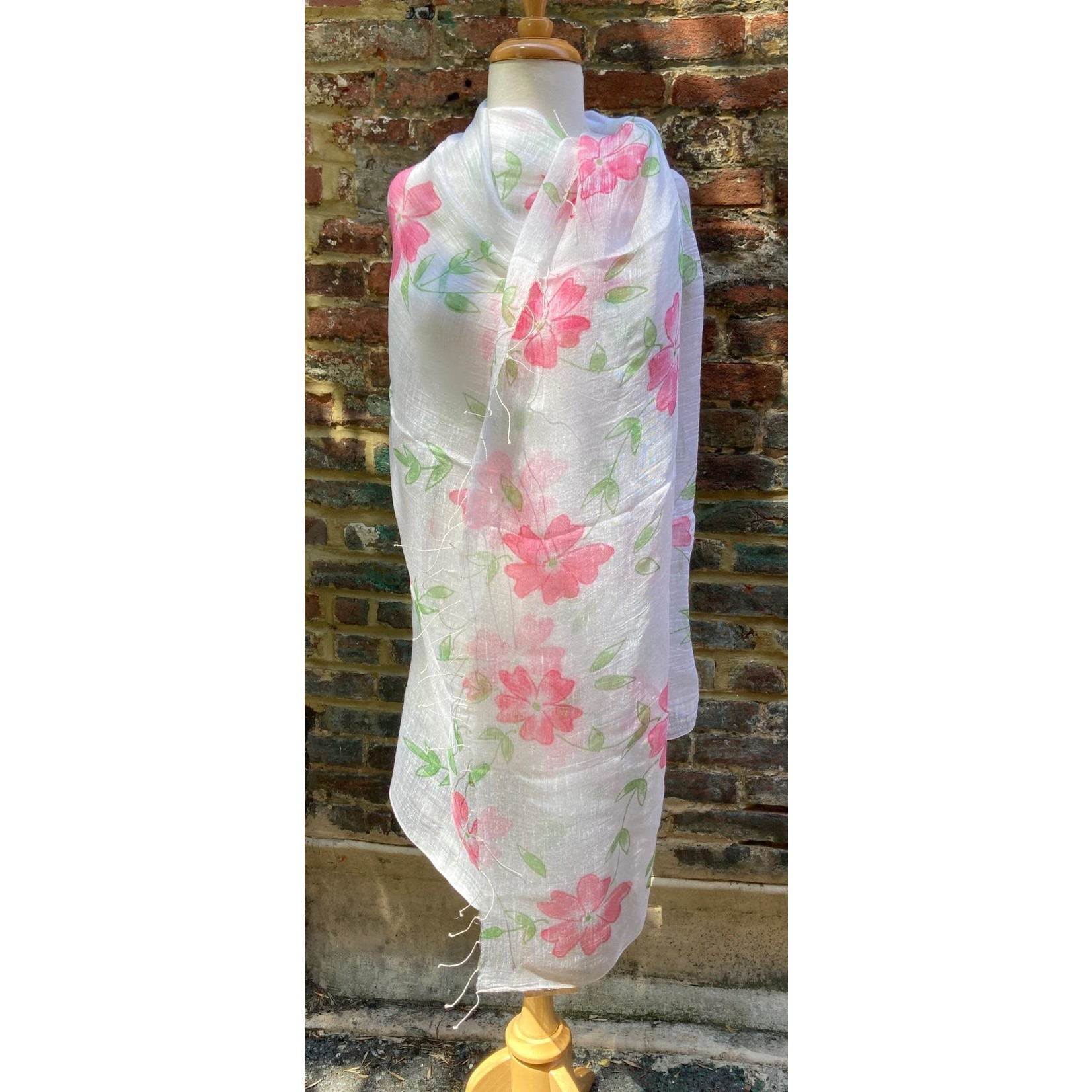 100% Silk Sheer White Scarf Pink Watercolor Flowers