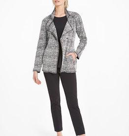 Nic+Zoe Cityside Jacket Snap Front Zipper Pockets Black Stitching Detail