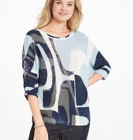 Nic+Zoe Shape of Blue Lightweight Dolman Sleeve Geometric Shapes Sweater