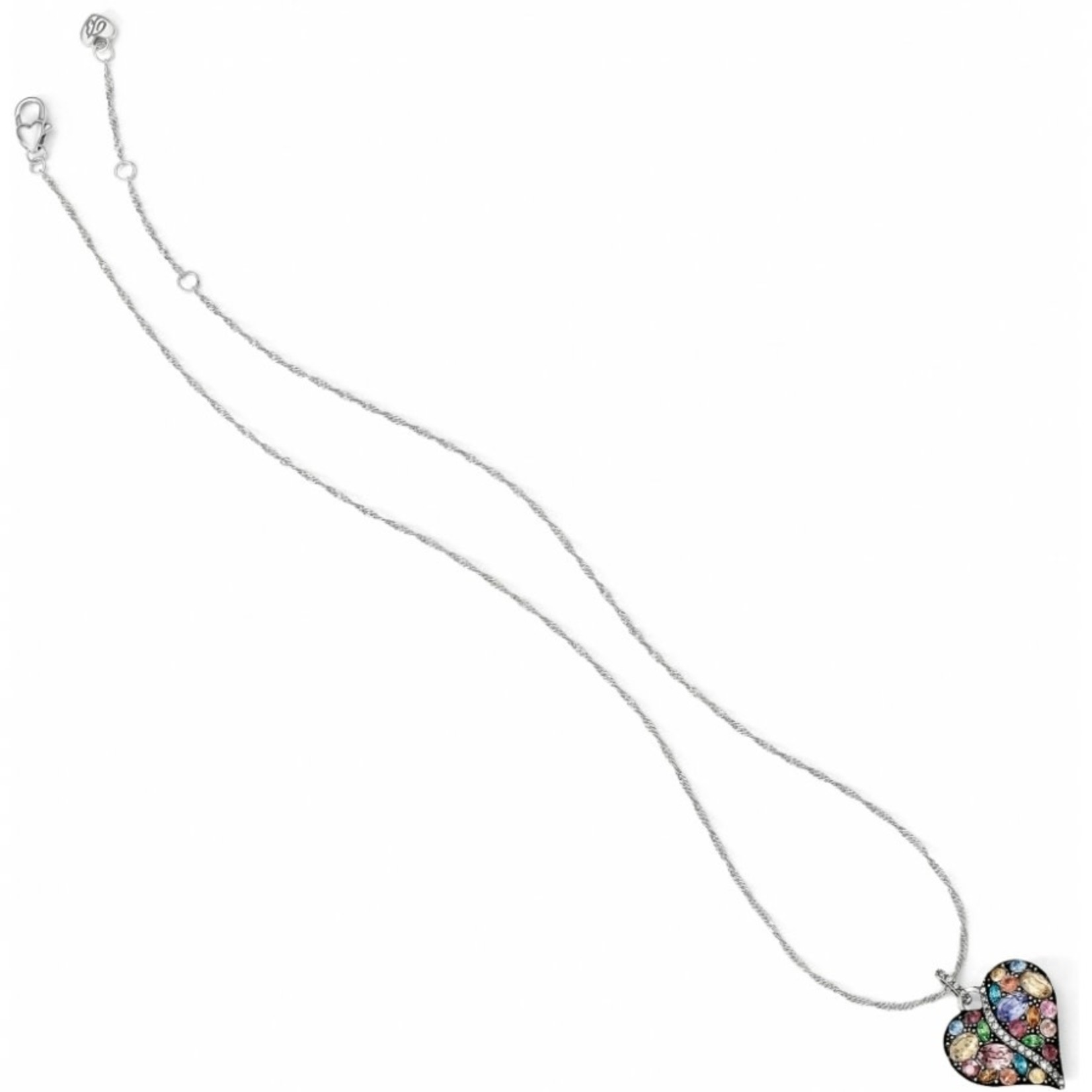 Brighton Trust Your Journey Heart Necklace Silver-Pastel Multi