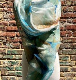 Scarf/50%Silk/50%Rayon/Sheer/AquaGreen/WaterLilies