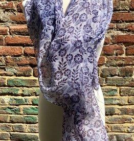 100% Silk Lite Denim Blue Scarf w/ Indigo Floral Pattern