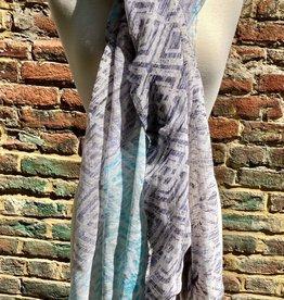 100% Silk Offwhite Scarf w/ DenimBlue and Turq Diamond Patterns