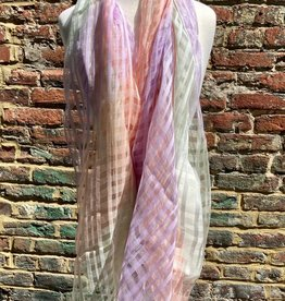 Gingham Silk Blend Oversized Scarf Criss Cross Pattern Gradient Pastels