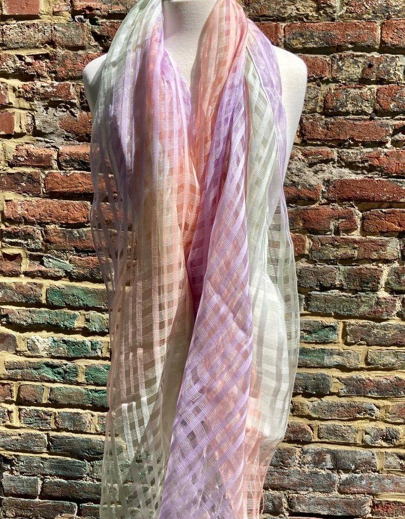 Gingham Silk Blend Oversized Scarf Criss Cross Pattern Gradient Pastels
