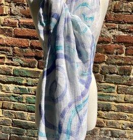 100% Sheer White Scarf w/ Turq and Lavender Circular Swirls