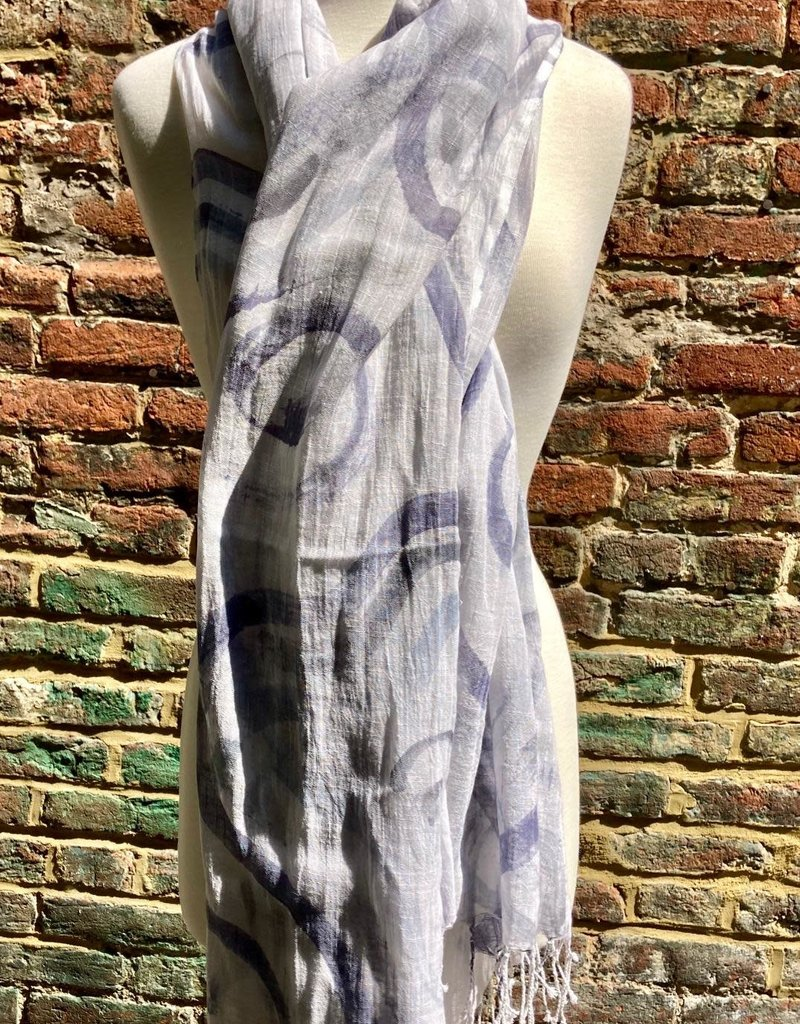 100% Sheer White Scarf w/ Bluish Gray Circular Swirls