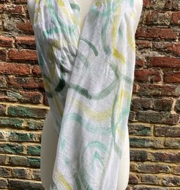 100% Sheer White Scarf w/ Shades of Green Circular Swirls