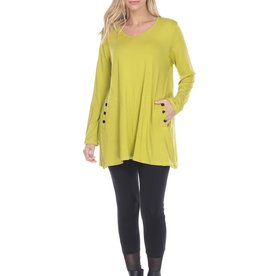 Reina Lee Chartreuse VNeck Tunic w/ 2 side pockets