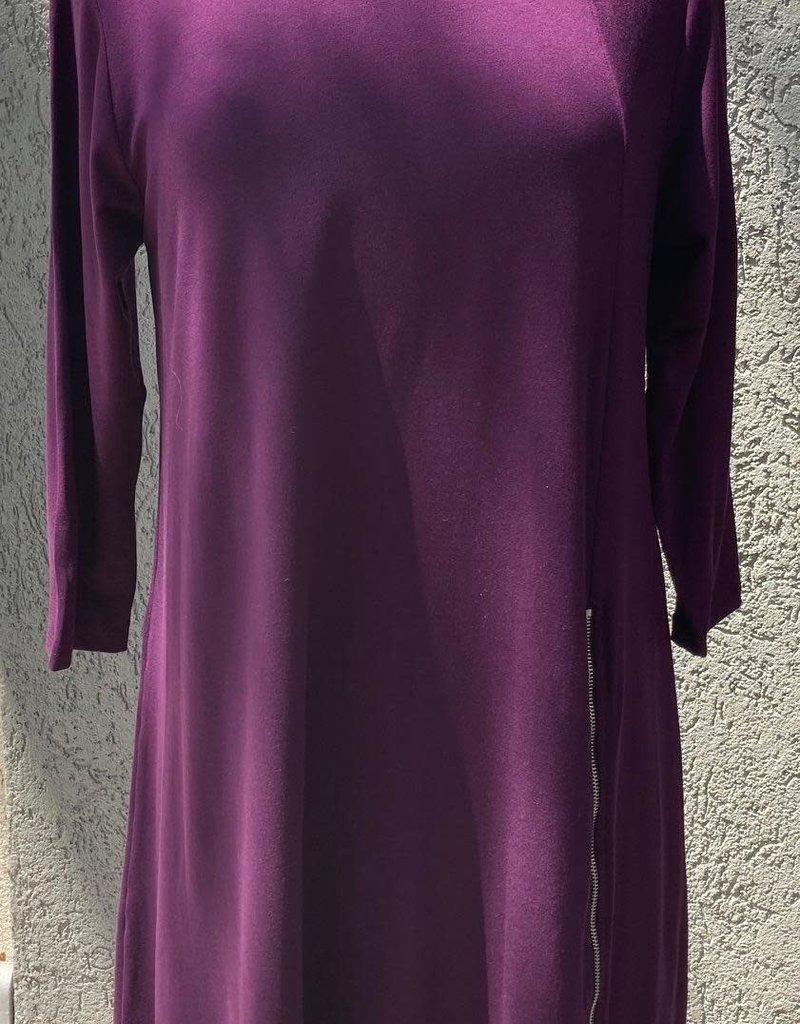 Reina Lee Mulberry Dress w/ Off Center Zipper Detail