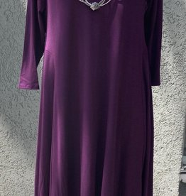 Reina Lee Mulberry Long Dress w/ Asymmetrical Hem