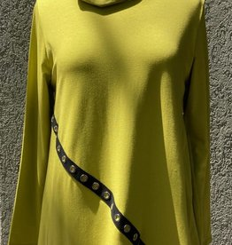 Reina Lee Chartreuse Asymmetrical Tunic w/ Cowl Neck and Black Grommet Trim