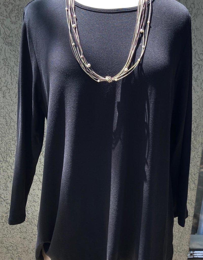 Reina Lee 3/4 Sleeve Black Tee Shirt