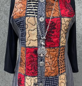 Parsley and Sage Silver Reversible Vest w/ Orange/Red/Tan Squares and Black Floral Stitching
