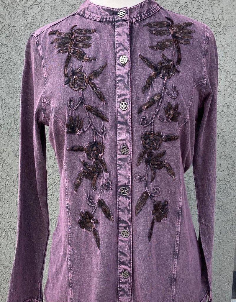 Parsley and Sage Plum Button-Up Shirt w/ Embroidered Floral Design