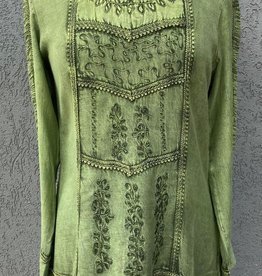 Parsley and Sage Olive Top w/ Flare Sleeve and Embroidered and Crinkle Details