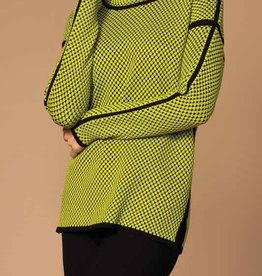 Lime Green Black Dot Sweater w/ Mock Turtleneck