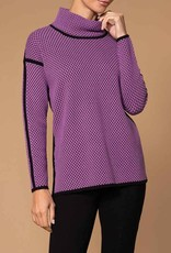 Violet Black Dot Sweater w/ Mock Turtleneck
