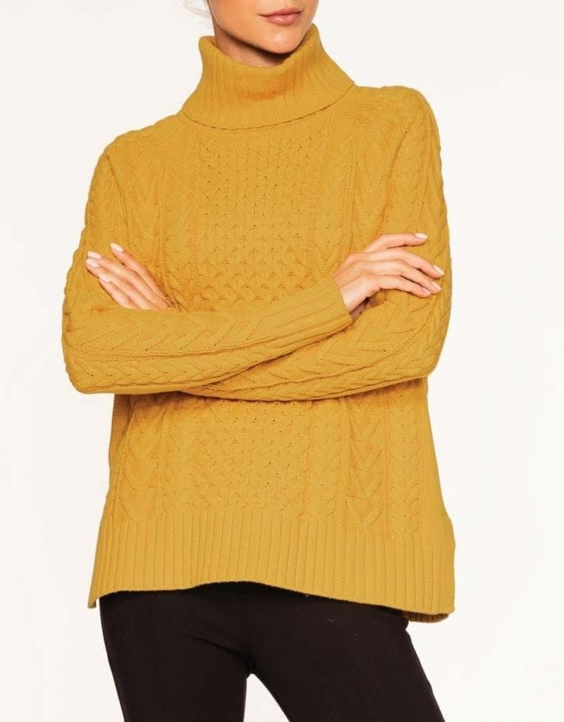 Amber Cable Turtleneck Sweater w/ Slits on Side