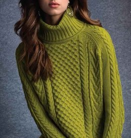 Green Apple Cable Turtleneck Sweater w/ Slits on Side