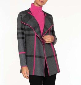 Charcoal/Black/Fuchsia Block Combo Open Cardigan