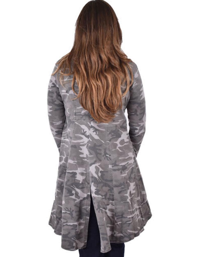 Grey Camo Print Long Jacket