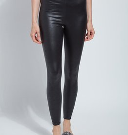 Black Foiled Vegan Leather Legging