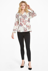Nic+Zoe Neutral Multi Scattered Letters Blouse