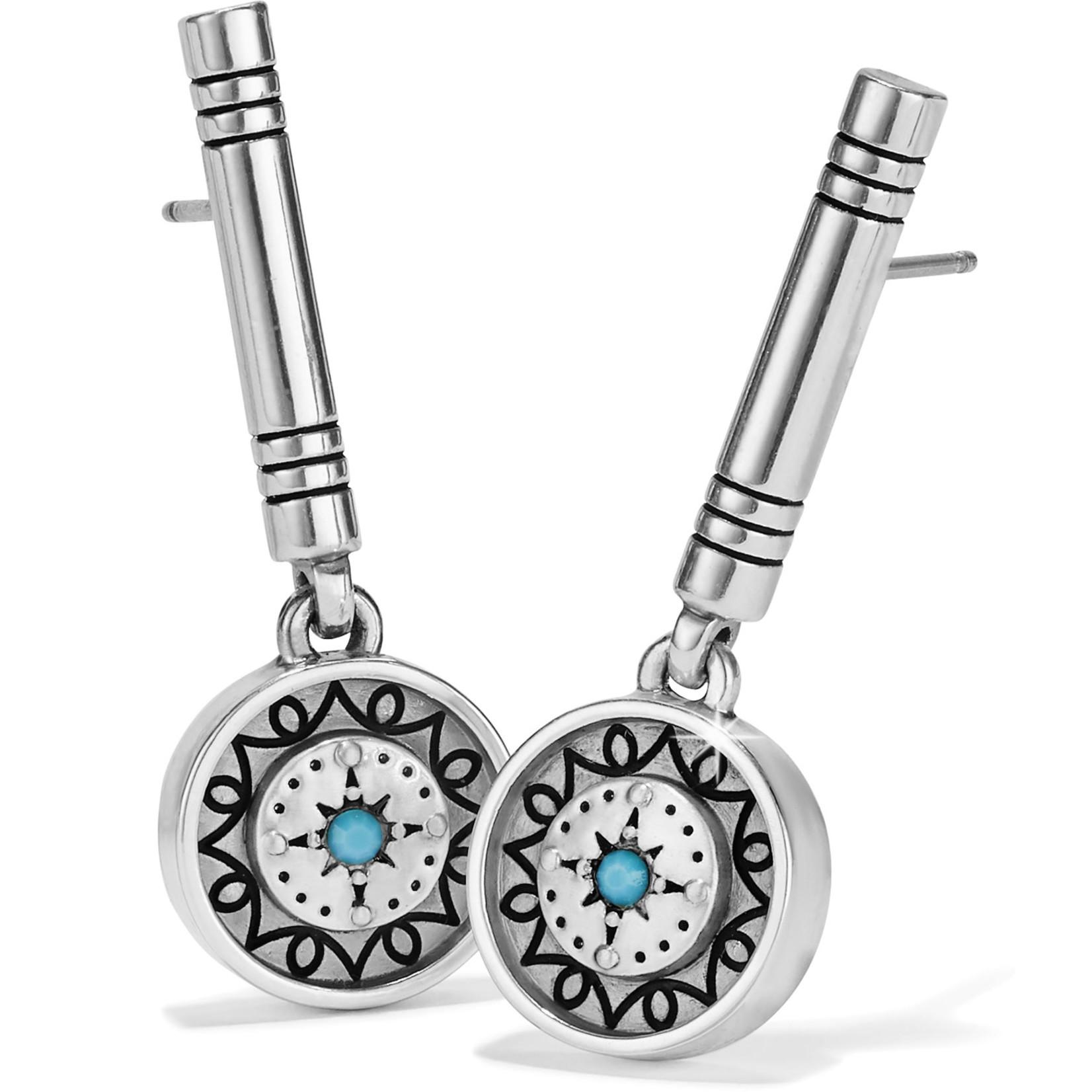Brighton Marrakesh Mystique Post Drop Earrings Silver-Turquoise