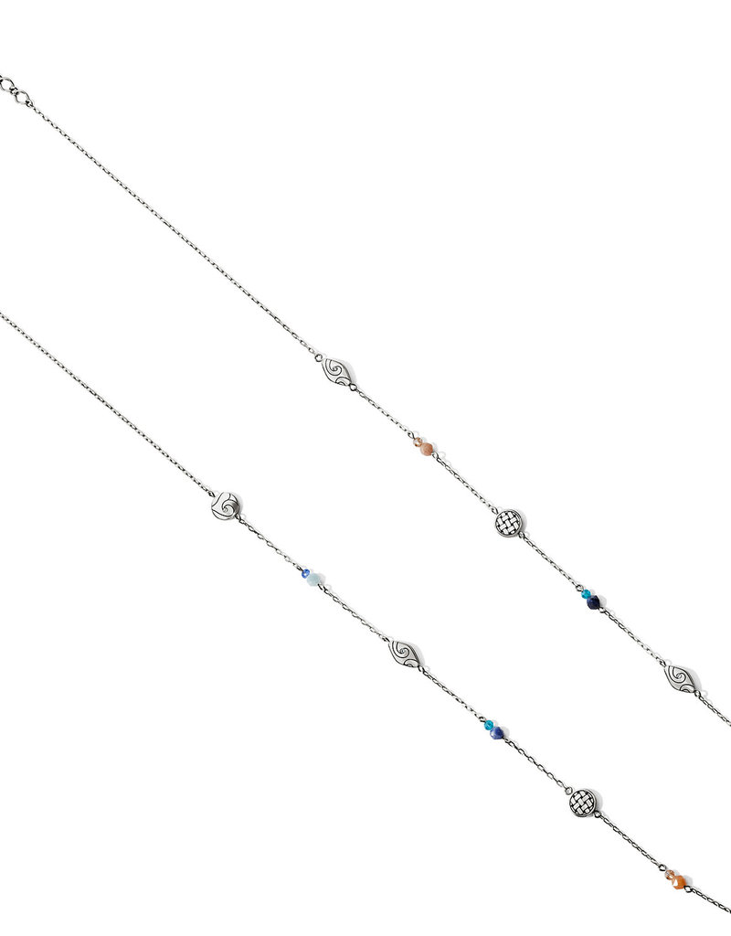 Brighton Barbados Beach Long Necklace Silver-Blue