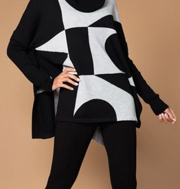 Black and White Geometric Shapes Sweater