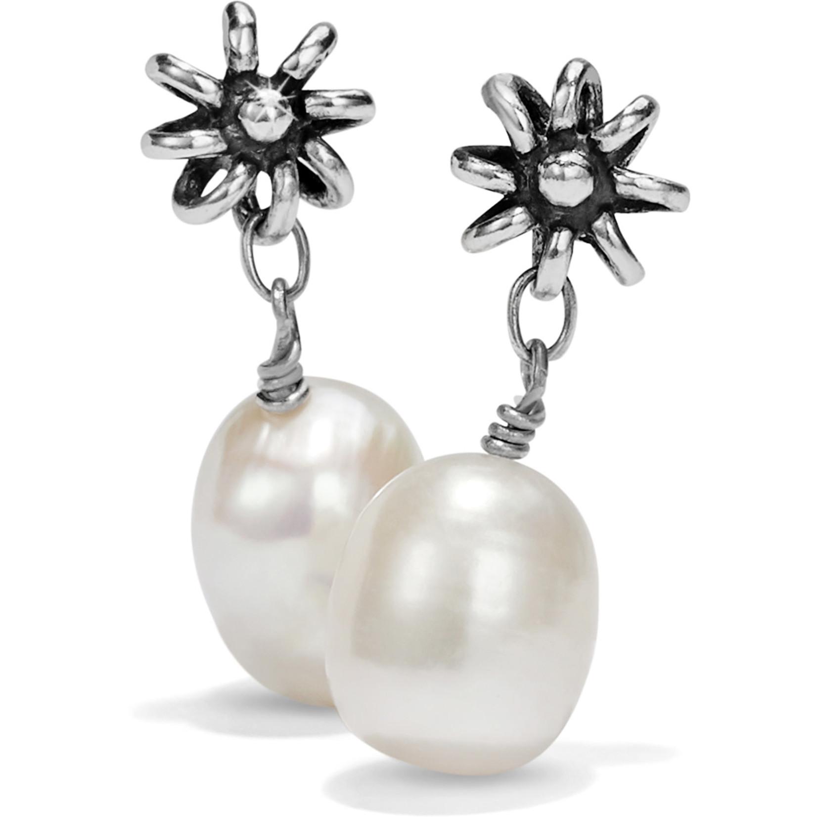 Brighton Rajasthan Jasmin Post Drop Earrings Silver-Pearl