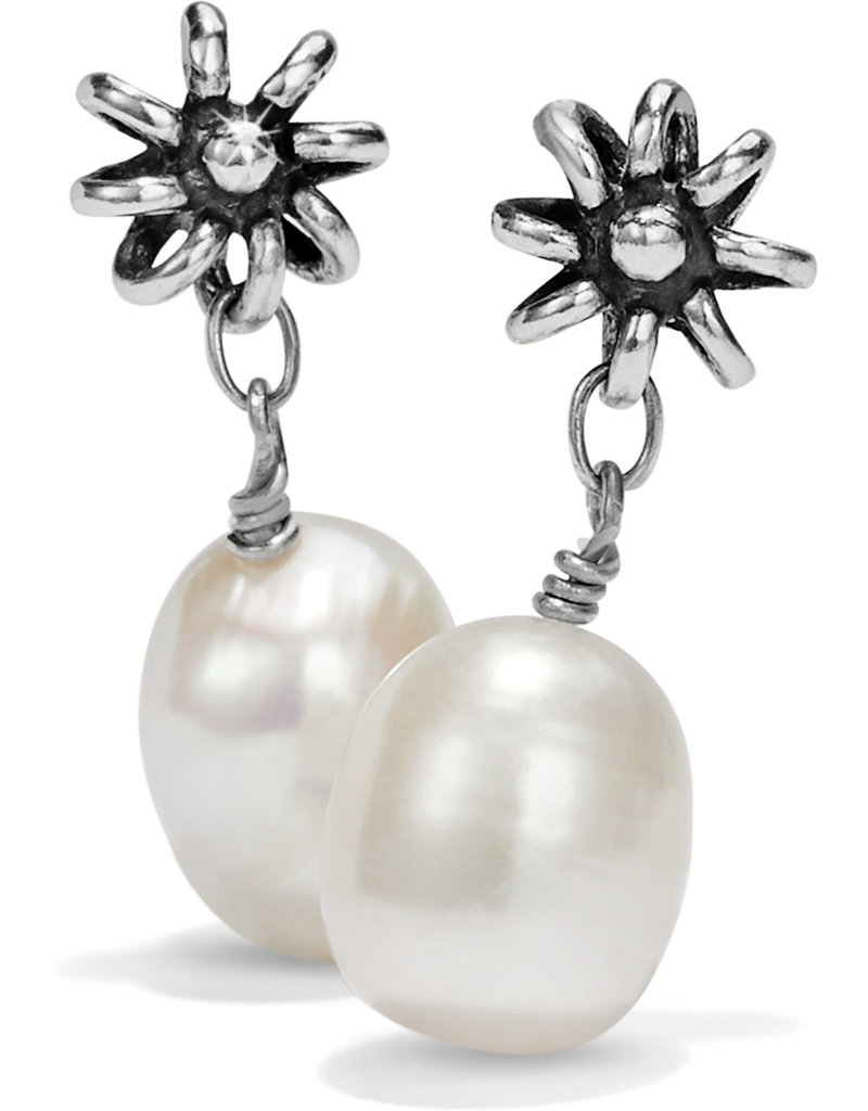 Brighton Rajasthan Jasmin Post Drop Earrings Silver-Pearl