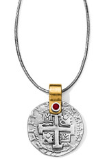 Brighton Doubloon Necklace Silver-Red