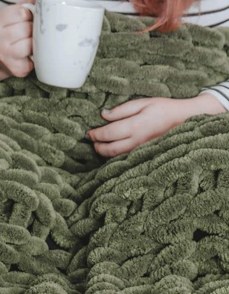 Olive Chenille Chunky Knit Throw