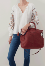 HOBO Sheila Red Washed Hide Leather Tote